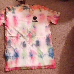 Handmade tie dye t shirt With rose logo